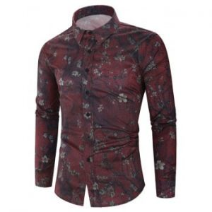 Floral Painting Print Long Sleeve Shirt