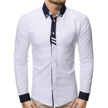 Color Spliced Button Up Casual Shirt
