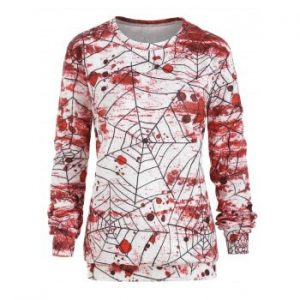 Halloween Spider Net Blood Print Sweatshirt
