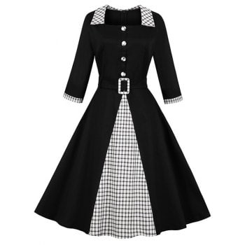 Mock Button Plaid Print Vintage Dress