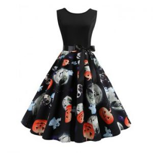 Ghost Pumpkin Skull Belted Halloween Dress