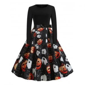 Pumpkin Ghost Cobweb Belted Halloween Dress