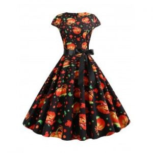 Pumpkin Ghost Belted Halloween Dress