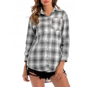 Plaid Dip Hem Shirt