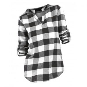 Plaid V Neck Blouse