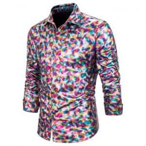 Shiny Gilding Print Button Up Long Sleeve Shirt