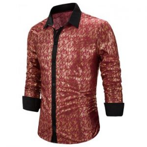 Allover Gilding Print Button Up Long Sleeve Shirt