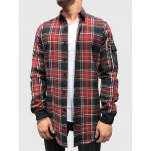 Plaid Printed Pocket Decoration Shirt