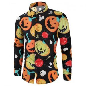 Halloween Cartoon Pumpkin Ghost Print Shirt