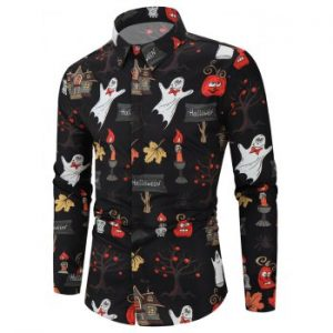 Halloween Pumpkin Pattern Print Button Shirt