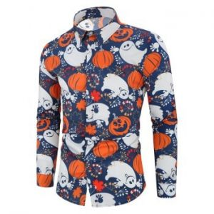 Halloween Pumpkin Ghost Floral Print Shirt