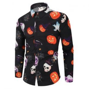 Halloween Pumpkin Skull Ghost Pattern Print Shirt