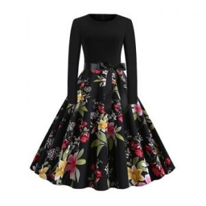 Floral Leaves Print Dotted Belted Dress