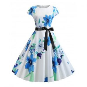 Floral Print Belted A Line Dress