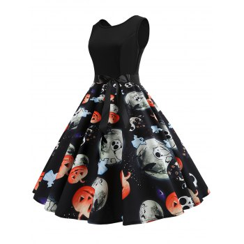 Halloween Pumpkin Ghost Print Sleeveless Dress