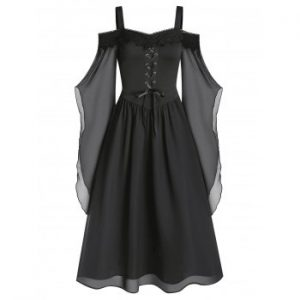 Lace Insert Lace up Chiffon Dress