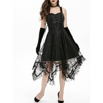 Lace Up Empire Waist Dress