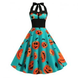Pumpkin Ghost Buttons Halloween Dress