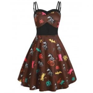 Pumpkin Bat Spider Skeleton Print Halloween Dress