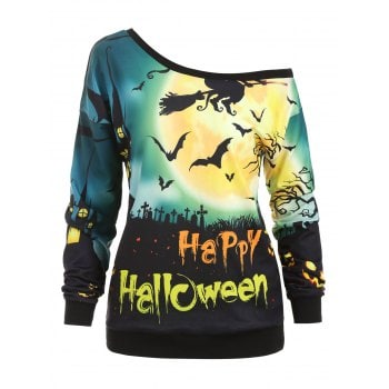 Halloween Pumpkin Face Bat Print Sweatshirt