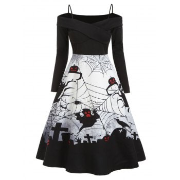 Halloween Spider Net Ghost Dress