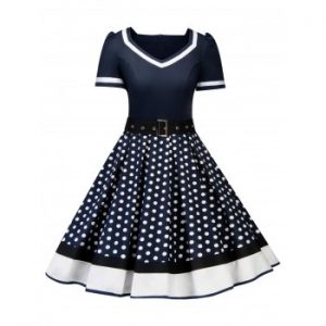 Polka Dot Striped Belted Dress