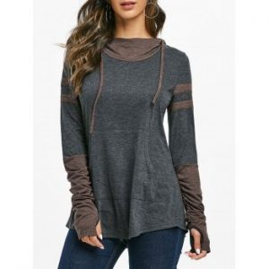 Hooded Contrast Heathered T shirt