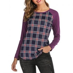 Plaid Raglan Sleeves Tee