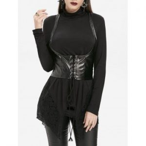 Long Sleeve Gothic T shirt and Waistcoat Set