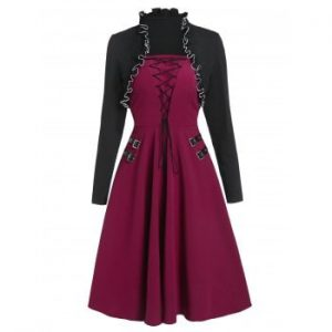 Lace Up Buckle Dress with Shrug Top