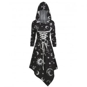 Skull Sun and Moon Lace Up Halloween Dress