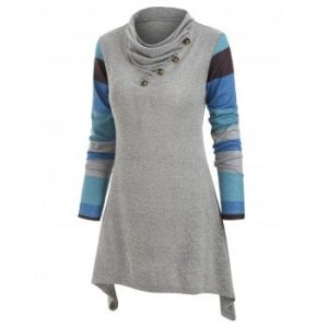 Color Block Button Embellished Knitwear