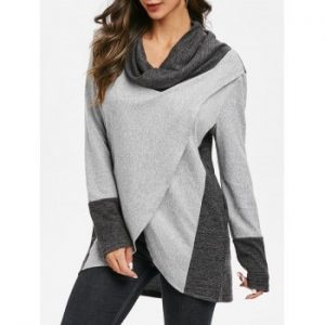 Cowl Neck Contrast Heathered Sweatshirt