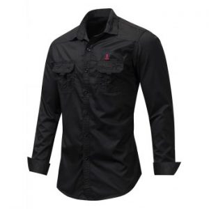 Letter Embroidered Double Pocket Shirt
