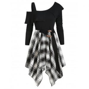 Plaid Skew Neck Asymmetrical Dress