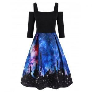 Galaxy Open Shoulder Dress