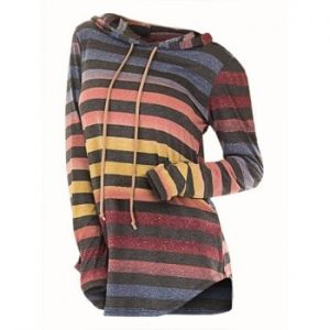 Striped Hooded Drawstring Knitwear