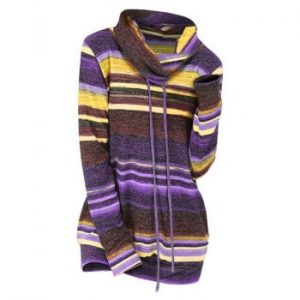 Striped Cowl Neck Knitwear