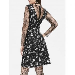 Cobweb Lace Skull Moth Halloween Dress