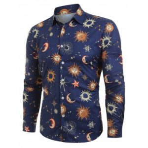 Moon Sun Pattern Long Sleeve Shirt